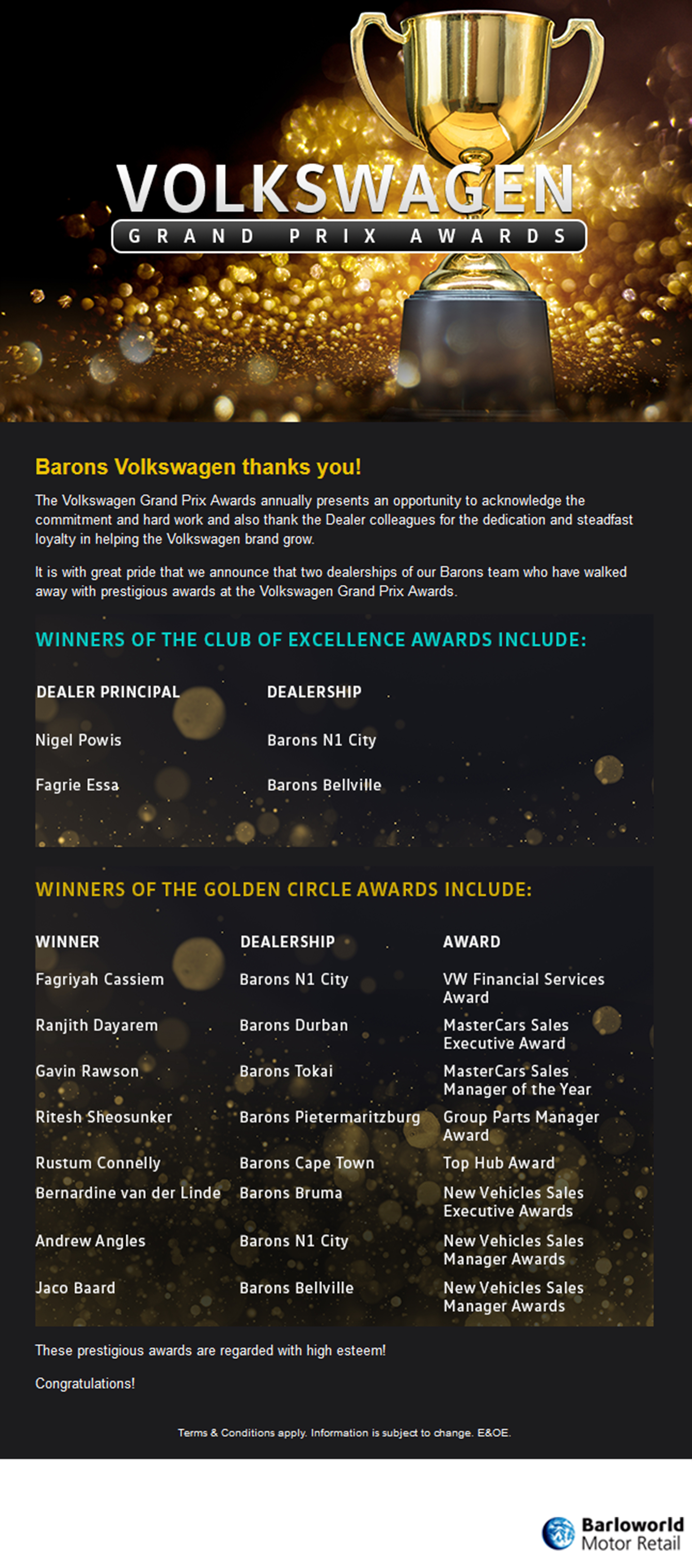 VW Grand Prix Awards Barons winners announcement